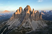 LAvaredo three peaks aerial view during sunrise. Belluno province, Veneto, Italy.