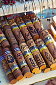 Wooden cigar holders on the market in Trinidad, Cuba