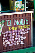 Detail of an outdoors Mojito bar on the beach of Cayo Blanco, Cuba