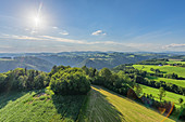 View from Burgstall on the valleys of the Danube and the Kleine Mühl, Upper Austria, Austria