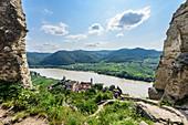 View from the ruin Dürnstein to Dürnstein and the Danube valley, Wachau, Lower Austria, Austria
