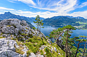 View from Traunstein to the Traunsee in the Salzkammergut, Upper Austria, Austria