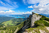 View of the Spinnerin, the Attersee and the Höllengebirge in the Salzkammergut, Austria