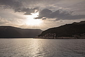 Clouds and Adriatic coast at sunset, near Opatija, Primorje-Gorski Kotar, Croatia, Europe