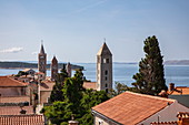 View over roofs of the old town and church towers, Rab, Primorje-Gorski Kotar, Croatia, Europe