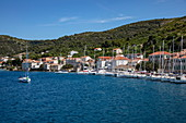 Sailboats moored along the sea promenade, Vis, Vis, Split-Dalmatia, Croatia, Europe