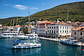 Sailboats and promenade of the town, Vis, Vis, Split-Dalmatia, Croatia, Europe