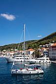 Sailboat, yachts and promenade of the town, Vis, Vis, Split-Dalmatia, Croatia, Europe