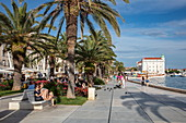 People enjoying the sun along the promenade with palm trees, Split, Split-Dalmatia, Croatia, Europe