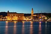 Harbor and town at dusk, Split, Split-Dalmatia, Croatia, Europe