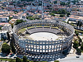 Aerial view from the Roman amphitheater Pula Arena, Pula, Istria, Croatia, Europe