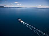 Aerial view of the cruise ship in the Adriatic Sea, near Rabac, Istria, Croatia, Europe