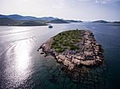 Aerial view of island and cruise ship in the Adriatic Sea, Kornati Islands National Park, Šibenik-Knin, Croatia, Europe