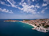 Aerial view of the cruise ship at the pier, Primosten, Šibenik-Knin, Croatia, Europe