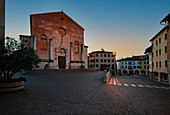 The unfinished facade of the Cathedral of San Marco in Pordenone, the largest place of worship in the city. Friuli region, Italy