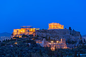 View of the Acropolis by night, Athens, Greece, Europe