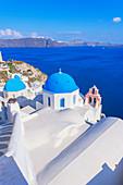 Oia Dorf, erhöhte Ansicht, Oia, Santorini, Kykladen, Griechenland