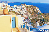 Oia village, elevated view, Oia, Santorini, Cyclades Islands, Greece