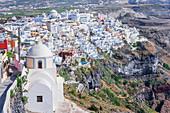 Thira, high angle view, Santorini, Cyclades Islands, Greece