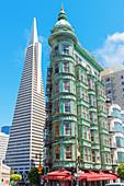 View of Columbus Tower and Transamerica Pyramid, San Francisco; California, USA