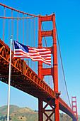 Golden Gate Bridge and the Stars and Stripes, San Francisco, California, USA