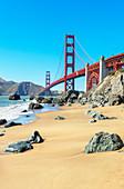 View of Golden Gate Bridge from Bakery beach, San Francisco, California, USA