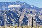 Wind turbines generating electricity, Santa Barbara, California, USA