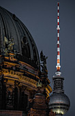View of the Berlin Cathedral with the television tower in the background, Berlin, Germany