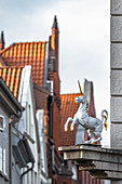 View of the unicorn in the old town of Lueneburg, Germany