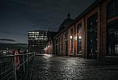 View of the fish market in Hamburg at night, Hamburg, Germany