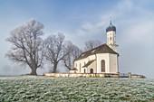St. Andreas in November morning mist, Etting, Polling, Upper Bavaria, Bavaria, Germany