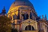 The baroque church of Santa Maria della Salute at the blue hour, Venice, UNESCO World Heritage Site Venice, Veneto, Italy