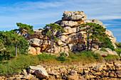 Felsenlandschaft an der Côte de Granit Rose im Vordergrund, Bretagne, Frankreich, Europa