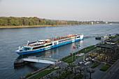 River cruise ship approaches the pier Koenigswinter on the Rhine, Koenigswinter, North Rhine-Westphalia, Germany, Europe