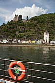 Lifebuoy on board the river cruise ship during a cruise on the Rhine with a view of Katz Castle, Sankt Goarshausen, Rhineland-Palatinate, Germany, Europe