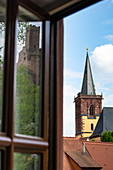 Reflection of Wertheim Castle in a window and church tower, Wertheim, Spessart-Mainland, Franconia, Baden-Wuerttemberg, Germany, Europe