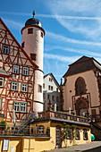 Half-timbered house, White Tower and Kilian's Chapel, Wertheim, Spessart-Mainland, Franconia, Baden-Wuerttemberg, Germany, Europe