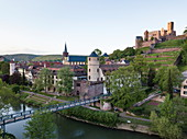 Aerial view of the Tauber with old town and Wertheim Castle, Wertheim, Spessart-Mainland, Franconia, Baden-Wuerttemberg, Germany, Europe