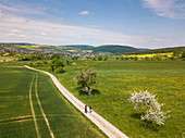Aerial view of two women walking along dirt road through lush spring landscape, Eschau, Räuberland, Spessart-Mainland, Franconia, Bavaria, Germany, Europe