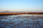 Ethiopia; Afar region; Danakil Desert; Salt pans at Afrera Lake; Water basins for salt extraction; extensive salt mining around the lake