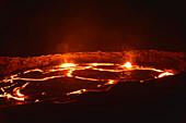 Ethiopia; Afar region; Danakil Desert; Danakil Depression; active volcano Erta Ale; Boiling lava lake in the caldera