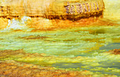 Ethiopia; Afar region; Danakil Desert; Danakil Depression; active geothermal area Dallol; sulphurous salt crust in yellow, green and red color;