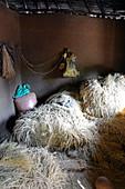 Ethiopia; Southern Nations Region; Grain barn in Jinka; Storage of dwarf millet or teff