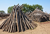 Ethiopia; Southern Nations Region; traditional huts in Kolcho village; lower Omo River; Omo valley