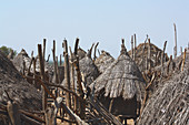 Ethiopia; Southern Nations Region; southern Ethiopian highlands; Kolcho village on the Omo River; Straw huts in traditional architectural style; small huts serve as storage huts