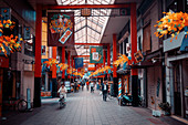 Shopping street in the temple district of Asakusa Toyko, Japan