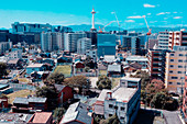 City backdrop with Kyoto Tower in the background in the midday sun, Kyoto, Japan