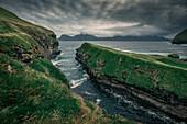 Gorge in the village of Gjogv on Eysteroy, Faroe Islands