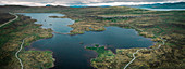 Lake Toftavatn with hiking trail from above, Runavik, Eysteroy, Faroe Islands