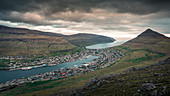 Town of Klaksvik on Bordoy island from above in sunset, Faroe Islands